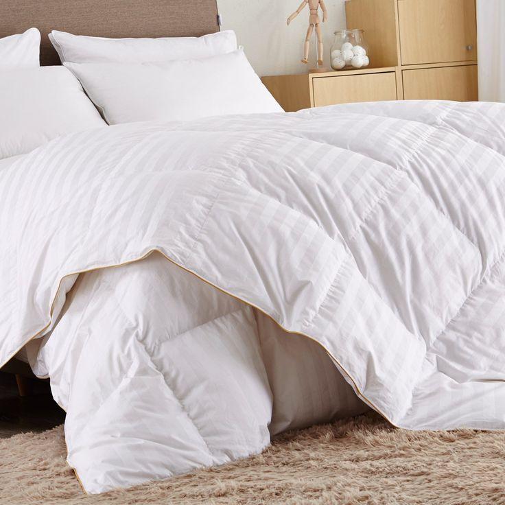 Puredown White Goose Down Comforter-600 Fill Power-Full/Queen- Cotton Shell 500TC-Stripe White