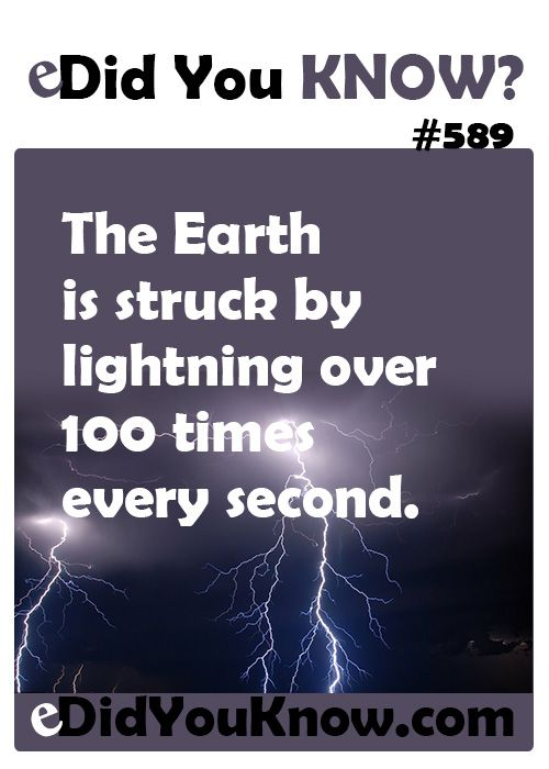 The Earth is struck by lightning over 100 times every second.  ► More: eDidYouKnow.com