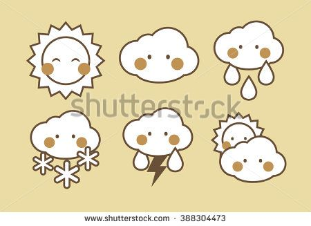 Collection of weather icons. Sunny, cloudy, rainy, snow, lightning. For a site, for an application. Cute design. Gold, brown, white colors. - stock vector