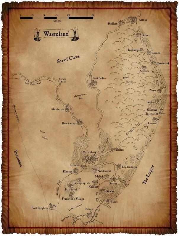 Warhammer Map : warhammer, Wasteland, Coastal, Around, Mouth, River, Which, Contains, Prosperous, Marienburg., Th…, Fantasy, World, Warhammer,