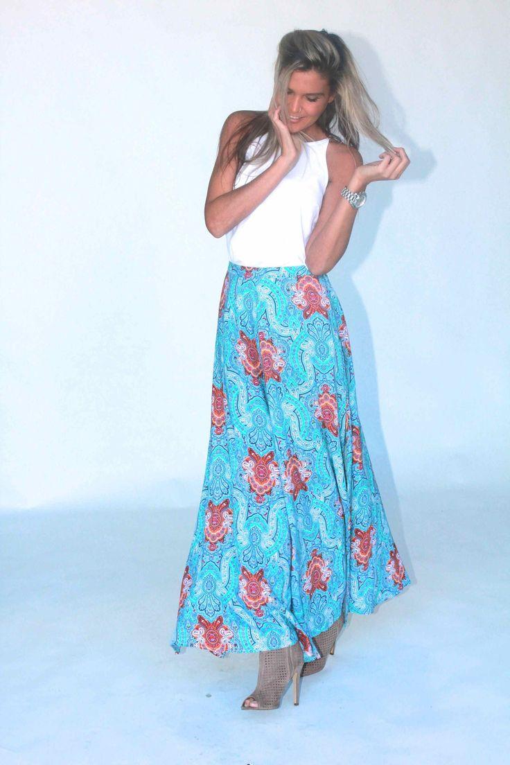 blue cyprus maxi skirt gingham heels summer