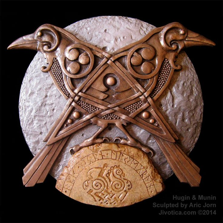 """Hugin & Munin"" The ravens are shown intertwined in knotwork to symbolize their interconnectedness – not only to each other, but also to Odin, the physical world and the knowledge they seek. They are perched on a rune stone upon which is carved a sampling of Futhark (the Norse alphabet) and a depiction of Odin astride his eight-legged horse, Sleipnir. Artist: Aric Jorn"