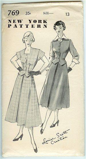 Vintage 1940s New York Dress Pattern 769 Weskit, High Neck Dress, Bust 31, Hip 34, Louise Scott