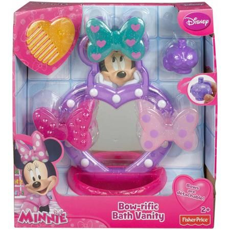 Fisher-Price Disney Minnie Mouse Bow-rific Bath Vanity: http://www.frugalbuzz.com/compare-prices/query/Fisher-Price%20Disney%20Minnie%20Mouse%20Bow-rific%20Bath%20Vanity