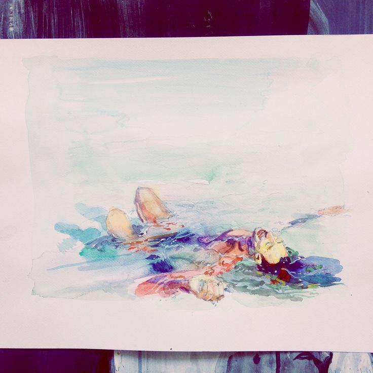 watercolor, paper a3 #underwater #watercolor #surf art #surf #water #art