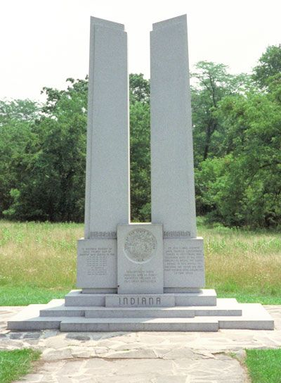 The State of Indiana monument is southeast of Gettysburg near Spangler's Spring.