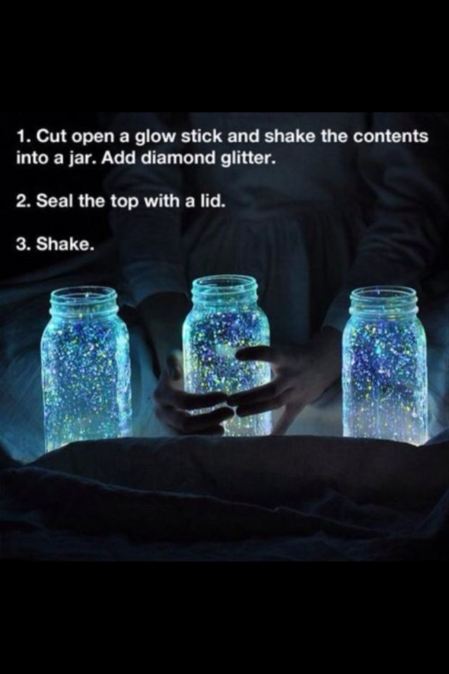Glow jars cool for outside parties to light up the night                                                                                                                                                                                 More