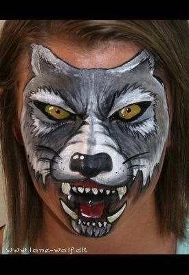 wolf face paint - eyes and mouth closed | Painted Faces ...