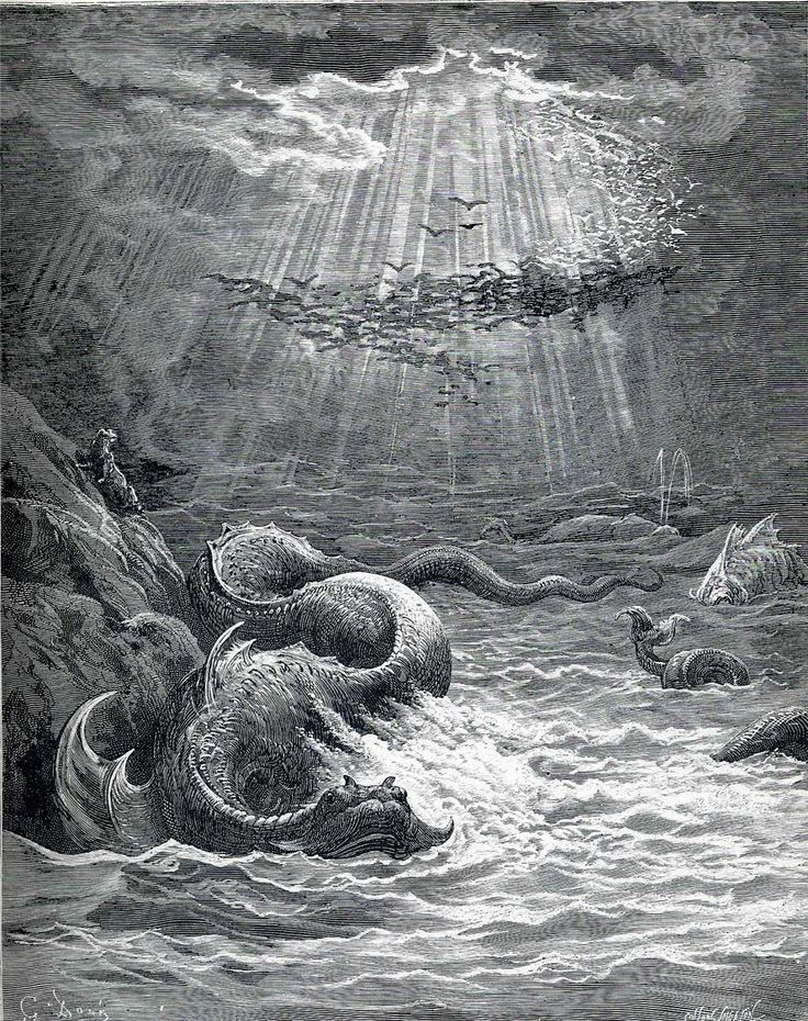 """""""The Creation of Fish and Birds"""" by Gustave Dore,  Completion Date: c.1868, Style: Romanticism."""