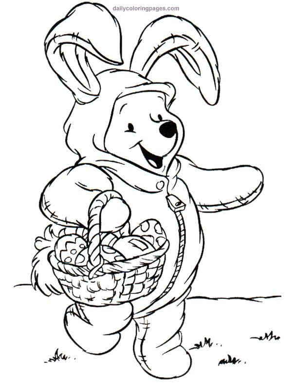 winnie the pooh is dressed up like the easter bunny and hes holding a basket filled with easter eggs add this winnie the pooh easter coloring page for