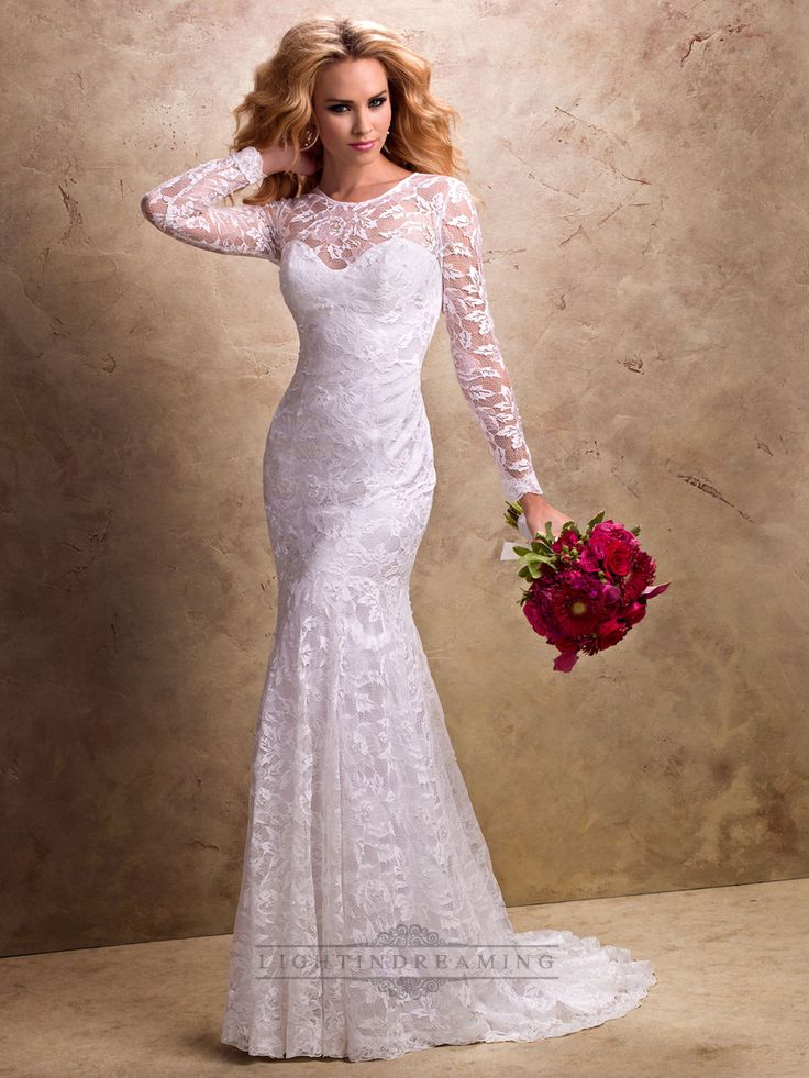 Fit and Flare Long Sleeves Sheer Wedding Dress with Sweetheart Neckline