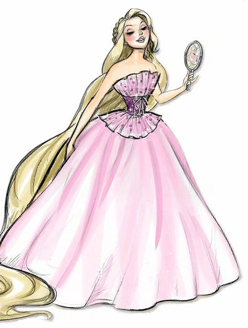 Rapunzel Couture: Disney Princesses, Tangled, Art, Designer Princess, Designer Collection, Rapunzel, Drawing