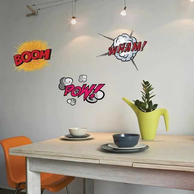 comic book stickers - Fancy.com -- I don't where I could use these but they could add a touch of whimsy in the right application and off course they would work in a boys room.