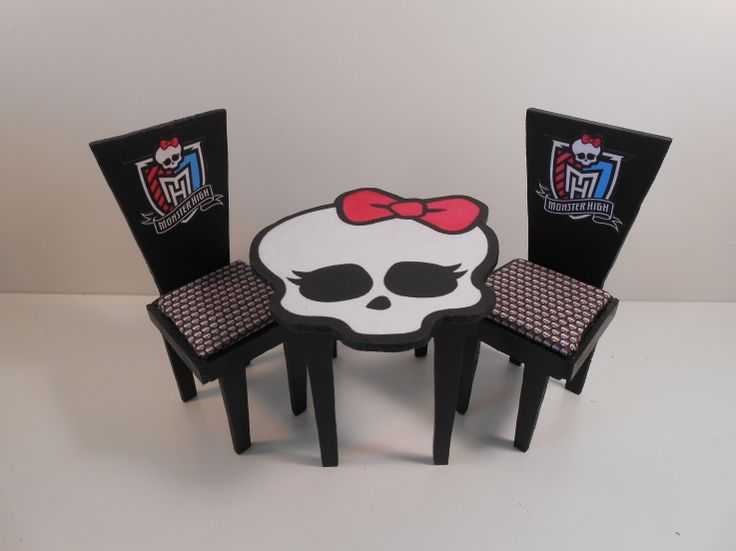 monster high bedroom furniture | Monster High Furniture - Basic Black Table & Chairs 2 - Monster High ...