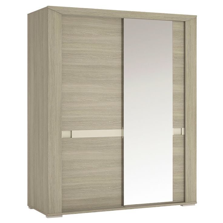 Madras 165cm Sliding Door Wardrobe With Mirror In Champagne Melamine