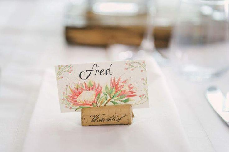 One (of 120!) name tags I created for a friend's protea wedding