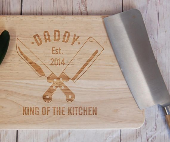 Personalised Cutting board for Dads, Grandads, Uncles, Aunts, Mums or anyone else! Add the date, location or any other information youd like A perfect personalised gift for Fathers Day You have a choice of two sizes of beech wood chopping boards: Medium : measuring approximately