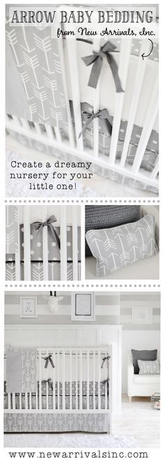 Gray Arrow Baby Bedding from New Arrivals, Inc.!  Dreamy arrow and dot nursery in gray. Perfect for a girl or boy nursery.