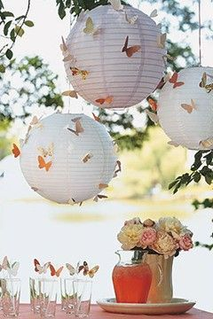 Martha Stewart strikes again – great idea for Paper Lanterns – adding butterflie…