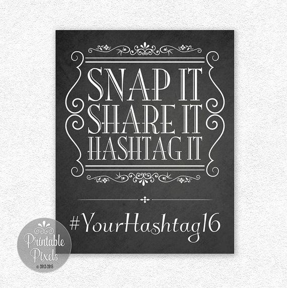 Social Media Sign Hashtag Sign Instagram Snap by PrintablePixels