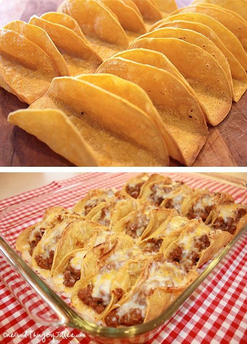 baked tacos SO YUMMY!  The meat mix is especially delicious! - Click image to find more main dish Pinterest pins