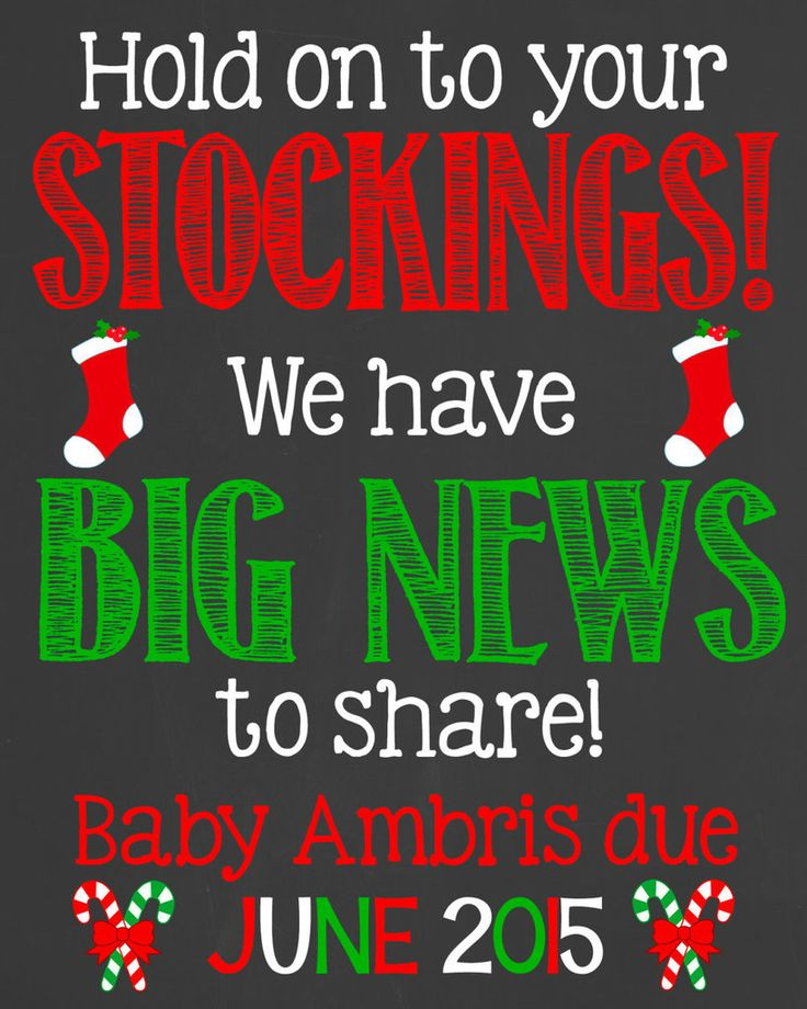 Christmas pregnancy announcement chalkboard poster.