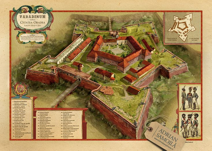 Artwork from guide map of Oradea's fortress.