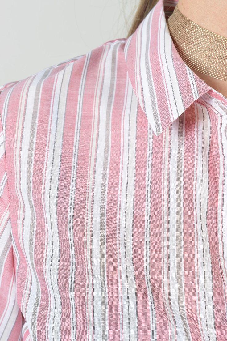 Punk v chemise ml - Antonelle Réf :  17CH1973 chemise PUNK V d'inspiration masculine à rayures tissées fondues. Très chic avec un jean ou un pantalon slim coordonné. #Antonelle #clothing  #lookoftheday #womenswear #rose #tshirt #casual