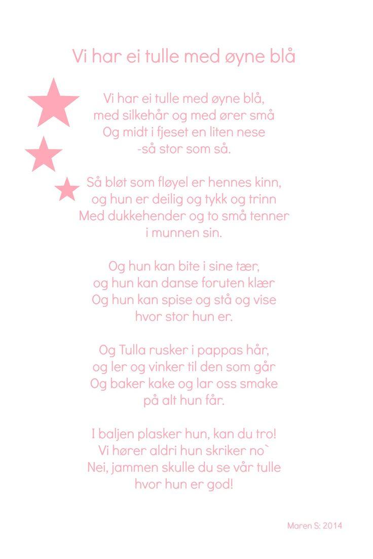 Vi har ei tulle med øyne blå. Barnesanger. Barnerom. Poster. Print. Maren S, 2014
