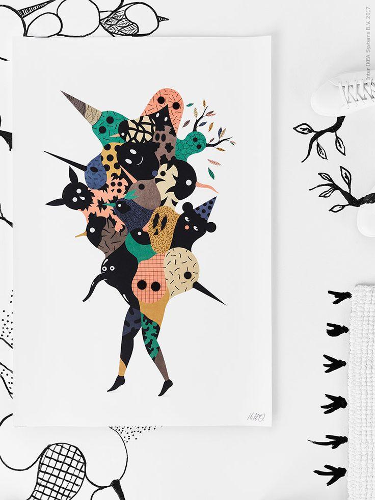 """ART EVENT 2017 affischen """"We are one"""" är skapad av konstnärsduon Hell'O, vars vision med detta verk var """"att skapa en blandning av människor och djur på ett positivt sätt, att måla en figur som är ihopsatt av flera roliga huvuden""""."""