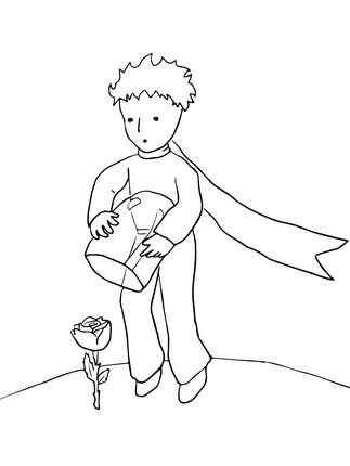 Click to see printable version of The Little Prince Protects His Rose coloring page