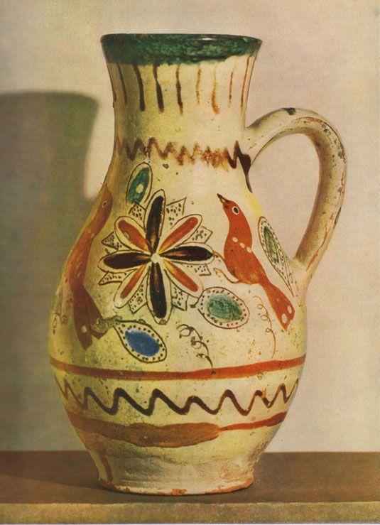 hand-painted pottery jug.  Slovakia 1850