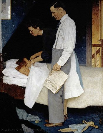 Norman Rockwell's Freedom from Fear appeared on the pages of The Saturday Evening Post on February 20, 1943. This was the fourth and last installment of Rockwell's famous Four Freedoms series.
