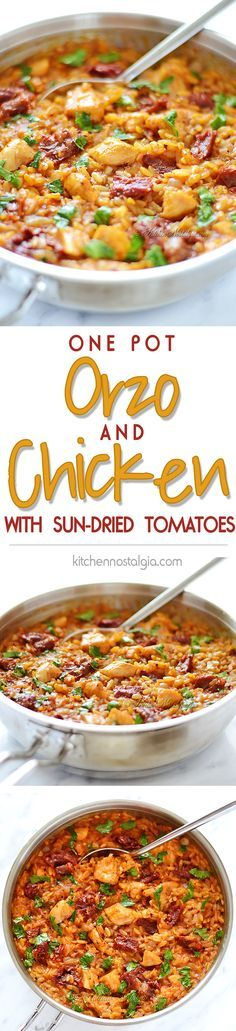 Orzo and Chicken with Sun-Dried Tomatoes - one-pot pasta dish, quick to make and full of Italian flavor - kitchennostalgia.com