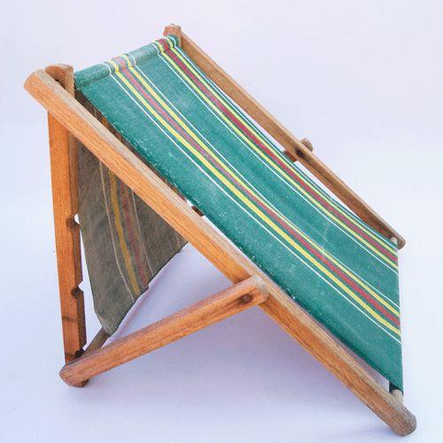 antique 1920s 30s wood folding stripe canvas cloth beach lounge chair