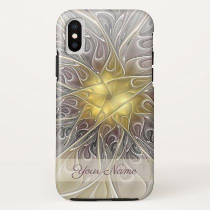 Flourish Gold Modern Abstract Fractal Flower Name iPhone X Case - diy cyo personalize special gift idea