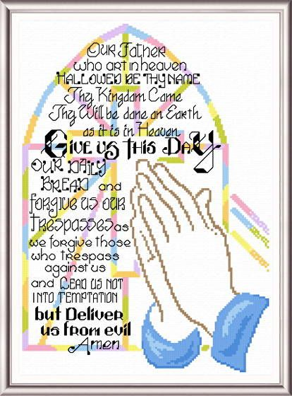 Praying Hands - cross stitch pattern designed by Ursula Michael. Category: Religious.