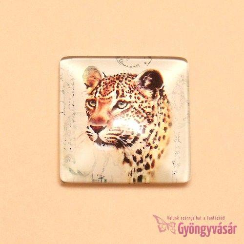Leopárd mintás, négyzet alakú, 25 mm-es üveglencse • Gyöngyvásár.hu