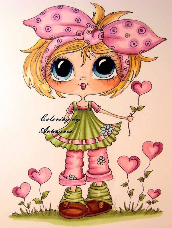 INSTANT DOWNLOAD Digital Digi Stamps Big Eye Big Head Dolls Bestie img505 Garden…