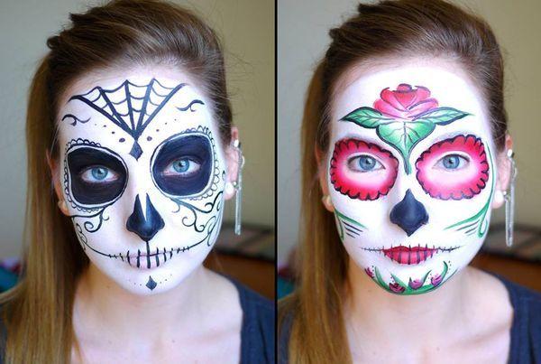 Des têtes de mort mexicaines - La jeune maquilleuse Elsa Rhae assure. Elle maîtrise l'art du Maquillage et se transforme en personnage de jeux vidéo, de séries ou de films en quelques coups de pinceau.