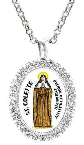 St Colette Patron of Healthy Childbirth Cz Crystal Silver Necklace Pendant