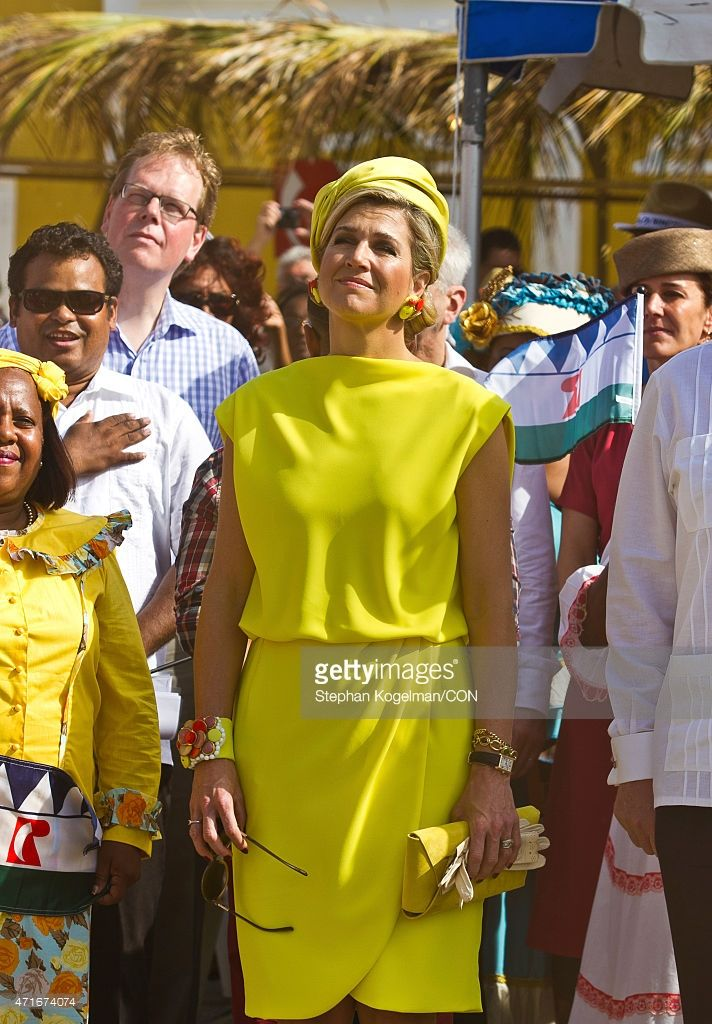 Queen Maxima of the Netherlands stands during a ceremony as part of Dia di Rincon on April 30, 2015 in Rincon, Netherlands. (Photo by Stephan Kogelman/LatinContent/Getty Images)