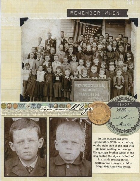 Two Small Boys...don't have a close-up photo of an ancestor? It's a great idea to digitally enlarge one from a group picture as was done on this well designed page.
