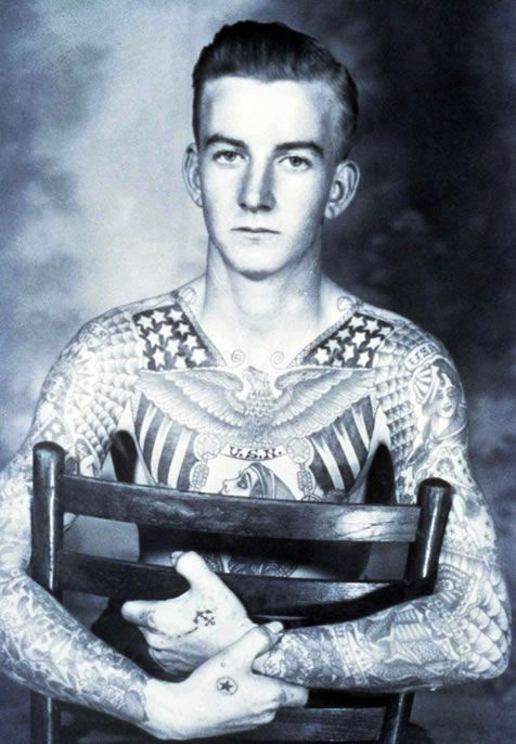 Bob Shaw covered in tattoos in the 1940s
