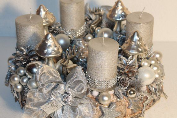 Wunderschoner Advents Rinden Kranz Glitter Unikat Rinden Kranz Ca 35 Cm Kerzen Ca H 9 Cm D 6 Cm Verwendete Materi Book Corners Glass Ball Candle Holders