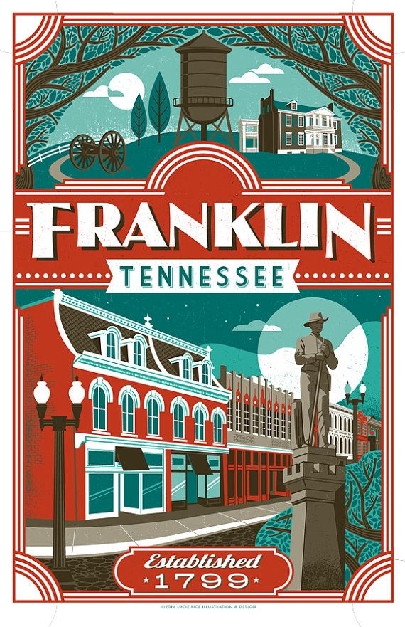 This 11X17 print celebrates the old town charm of the best small Southern town: Franklin, Tennessee!