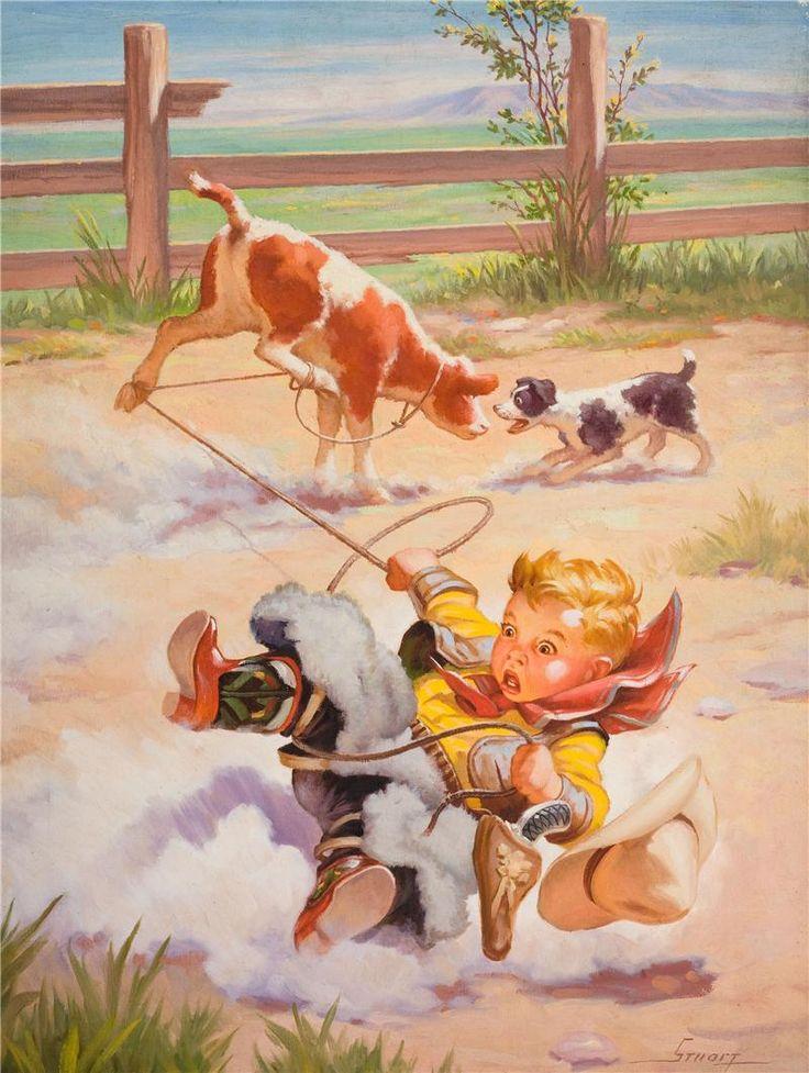 Menino laçando, caiu, corda, cachorro  ... by Henry Hintermeister