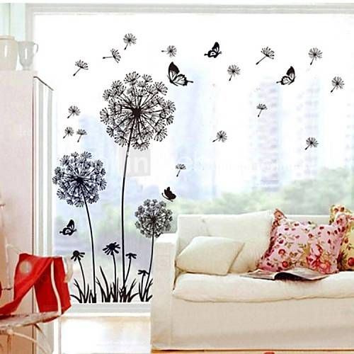 Doudouwo® Botanical Solid Style Dandelion And Butterfly Wall Stickers