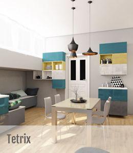 Tetrix este un program cu posibilitati nelimitate in ceea ce priveste configurarea spatiala. Un model care permite o mare libertate compozitionala. Prin inovatie, spatiul de zi prinde viata, folosind alegeri flexibile compozitional si culori alese in functie de gustul personal.
