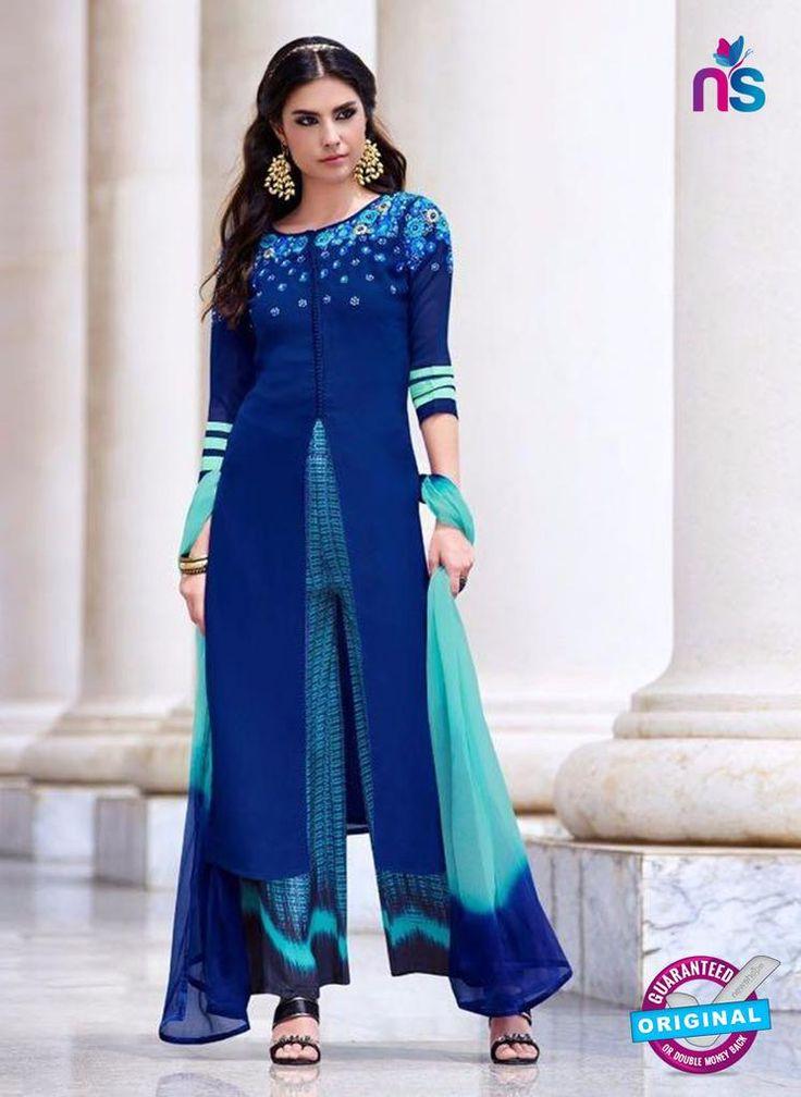 Teazle 2205 Blue Embroiderd Georgette Designer Suit